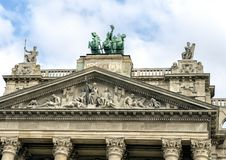 Sculptures atop Budapest`s Museum of Ethnography. Pictured are sculptures atop Budapest`s Museum of Ethnography, or in Hungarian, Neprajzi Muzeum. Lady Justice royalty free stock images