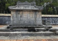 Side view of the Emperor`s Sepulcher in Tu Duc Royal Tomb complex 4 miles from Hue, Vietnam. Pictured is a side view of the Emperor`s Sepulcher in Tu Duc Royal royalty free stock photo