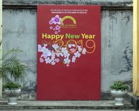 Happy New Year 2019 sign in Hua Lo Prison, Hanoi, Vietnam royalty free stock images