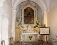 Tiny chapel dedicated to the legend on the coming of Saint Paul to Galatina. Pictured is the single altar of a tiny chapel dedicated to the legend on the coming Royalty Free Stock Images
