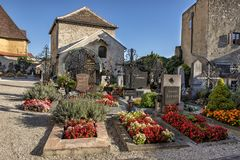 Small cemetery in the Township of Durnstein, Austria. stock images