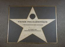Weiner Philharmoniker star on Vienna`s Walk of Fame. Pictured is the star of Wiener Philharmoniker on Vienna`s Walk of Fame, or Musikmeile. It goes back to an royalty free stock images