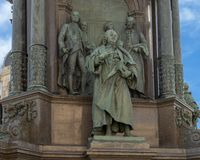 Van Swieten and others representing the theme `Arts and Science`, Empress Maria Theresa Monument, Vienna, Austria. Pictured are statues representing the theme ` stock image