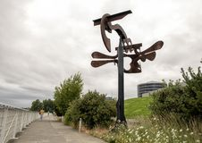 `Shubert`s Sonata` by Mark di Suvero, Olympic Sculptue Park, Seattle, Washington, United States. Pictured is a steel painted and unpainted sculpture titled ` royalty free stock photos