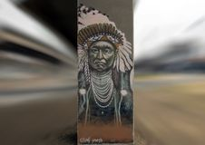 Chief Joseph street art, Deep Ellum, Texas. Pictured is a street art painting of Chief Joseph. Chief Joseph`s life remains iconic of the American Indian Wars Royalty Free Stock Image