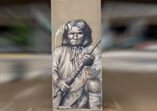 Geronimo street art, Deep Ellum, Texas. Pictured is a street art painting of the famous apache leader and medicine man, Geronimo. He was famous for his fighting Stock Image