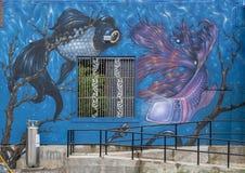 Surrealistic fish mural in the Bishop Arts District in Dallas, Texas.