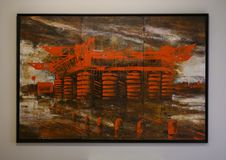 Surrealistic three panel painting by unnamed artist in Ristorante Contraste, Milan Italy.