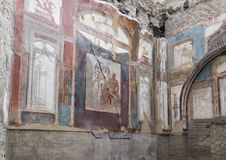 Temple in the College of Augustales in Parco Archeologico di Ercolano. Pictured is a temple in the College of Agustales in the Parco Archeologico di Ercolano Royalty Free Stock Images