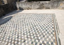 Mosaic three dimensional tile floor in the House of Faun, Scavi Di Pompei royalty free stock photo