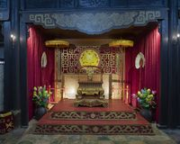 Throne of the Empress Le Thien Anh inside the Hoa Khiem Temple, Tu Duc Royal Tomb, Hue, Vietnam. Pictured is the throne of the Empress Le Thien Anh inside the stock image