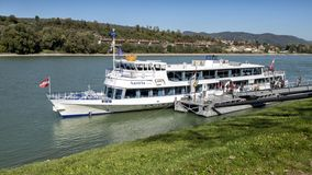 Tourboat unloading tourists at Danube Station 9, Melk, Wachau Valley, Lower Austria. stock images