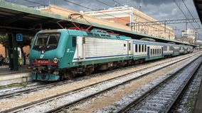 Pictured is a train in the station in Sorrento, Italy Stock Photo