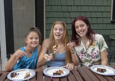 Family celebrating birthdays on vacation in Seattle, Washington stock image