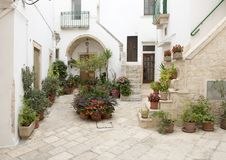 Stairways to entrance homes in Locorotondo, southern Italy Stock Images