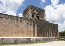 Upper Temple of the Jaguar top of the South end of the East Wall of the Great Ball Court, Chichen Itza. Pictured is the Upper Temple of the Jaguar atop the South Stock Images