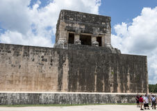 Upper Temple of the Jaguar top of the South end of the East Wall of the Great Ball Court, Chichen Itza Stock Image