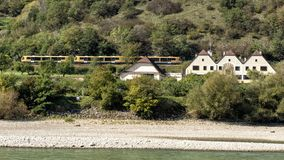 Wachaubahn train on the North side of the Danube River, running from Emmersdorf to Krems, Wachau Valley, Lower Austria. Pictured is the Wachaubahn train on the stock photos