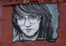 Wall art featuring Madison King in Deep Ellum, Dallas, Texas. Pictured is a wall art featuring Madison King in Deep Ellum.  Madison King is a singer most famous Stock Photography