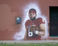 NFL Draft Baker Mayfield mural by Theo Ponchaveli, Deep Ellum, Dallas, Texas. Pictured is a wall mural in Deep Ellum of Baker Mayfield commissioned by the NFL Royalty Free Stock Photography