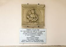 Wall relief scupture of Madonna and Child, Basilica di Santa Caterina d`Alessandria, Galatina, Italy Stock Photography