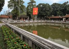 Well of Heavenly Brilliance, third courtyard, Temple of Literature, Hanoi, Vietnam. Pictured is the Well of Heavenly Brilliance Thien Quang Tinh in the third stock photography