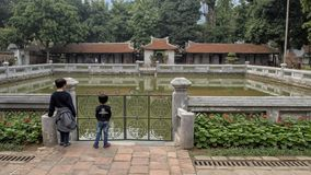 Well of Heavenly Brilliance, third courtyard, Temple of Literature, Hanoi, Vietnam. Pictured is the Well of Heavenly Brilliance Thien Quang Tinh in the third stock image