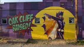Batgirl mural Bishop Arts District, Dallas, Texas. Pictured is the well known batgirl mural in the Bishop Arts District, Dallas, Texas. It was created by Steve royalty free stock photography