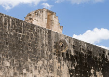 West wall of the Great Ball Court, Chichen Itza. Pictured is the West wall of the Great Ball Court. It is the largest and best preserved ball court in ancient Royalty Free Stock Photography