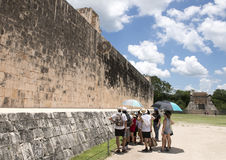 West wall and North Temple of the Great Ball Court, Chichen Itza Royalty Free Stock Images