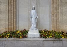 Statue of the Virgin Mary outside Christ the King Church in Dallas, Texas stock photos