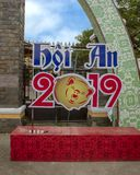 Year of the Pig 2019 Celebration sign, Hoi An, Vietnam. Pictured is a 2019 Year of the Pig celebration sign for the Lunar New Year in Hoi An, Vietnam.  According stock photography