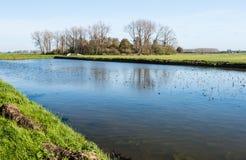 Pictureresque polderlandskap i höst Arkivfoto