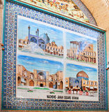Pictures of attractions of Persian city on colorful tiles of bazaar wall Stock Photo