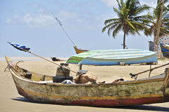 Pictures of Brazil. The People and the brazilian lands. Boat in the sand, beach Peba, city of Feliz Deserto Stock Photos