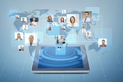 Pictures of businesspeople over tablet pc Royalty Free Stock Photo