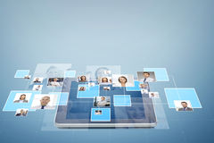 Pictures of businesspeople over tablet pc Royalty Free Stock Images