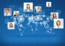 Pictures of businesspeople over world map. Business, people, social network and head hunting concept - pictures of businesspeople over world map and blue royalty free illustration