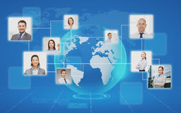 Pictures of businesspeople over world map. Business, people, social network and head hunting concept - pictures of businesspeople over world map and blue stock illustration
