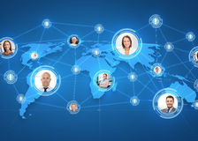 Pictures of businesspeople over world map Royalty Free Stock Images