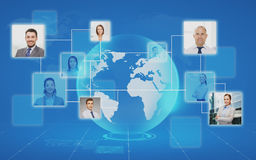 Pictures of businesspeople over world map Royalty Free Stock Photos