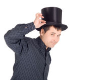 Pictures of cheerful man in top cap (cylinder) Royalty Free Stock Photos