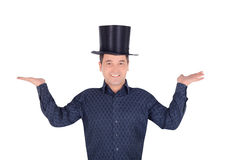 Pictures of cheerful man in top hat cylinder. Brightly pictures of cheerful man in top hat cylinder stock image