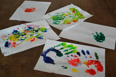Pictures child acrylics Stock Photography