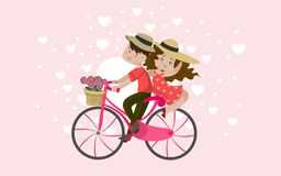 Pictures of couples traveling together on the day of love royalty free illustration