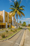 Pictures of Cuba - Santiago de Cuba. Entrance of the historic and famous Antiguo Curatel Moncada against a blue cloudy sky Royalty Free Stock Photo