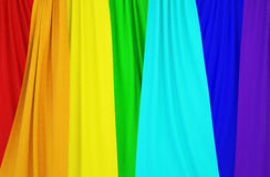 Pictures of curtains with colors of the rainbow. Stock Images