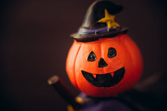 Pictures of cuteness Halloween Witch. Focus on face stock photography