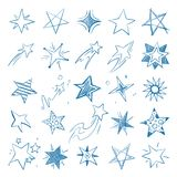 Pictures of different stars in doodle hand drawn style. Star and asterisk, drawing sketch scribble. Vector illustration Royalty Free Stock Images