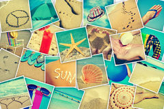 Pictures of different summer sceneries. Mosaic with pictures of different summer sceneries, shooted by myself, simulating a wall of snapshots uploaded to social Stock Photos